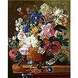 ZXDA Pintura de Bricolaje por números Pintura al óleo de Flores Pintada a Mano Lienzo Dibujo decoración del hogar Kit de Regalo Pintura DIY Lienzo A1 60x75cm