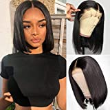 SingleBest Bob Perücke Lace Front Wig,Brasilianische Virgin Remy Straight Kurze Remy Echthaar Perücken for Black Woman 180 Dichte Natural Black 8'