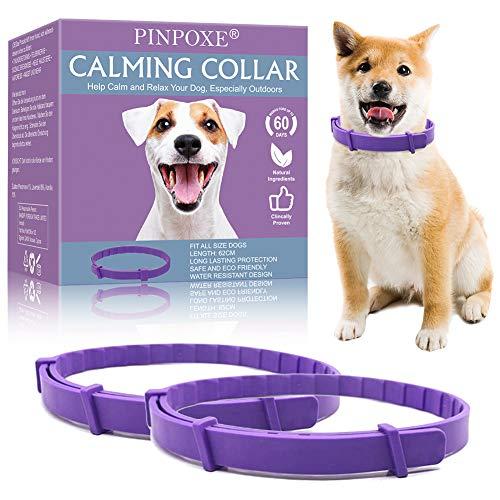 PINPOXE Beruhigendes Halsband, Beruhigungshalsband für Hunde, Hundehalsband zur Beruhigung von Angst und Aggression, Anti-Angst-Halsband mit Einstellbarer Größe, lindert Angstzustände, 2 Pcs