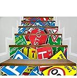 QTZS Creativo 3D Escalera Pegatinas De Tránsito Señales De Bricolaje Escalera De Renovación Pegatinas De Pared 6 Unids