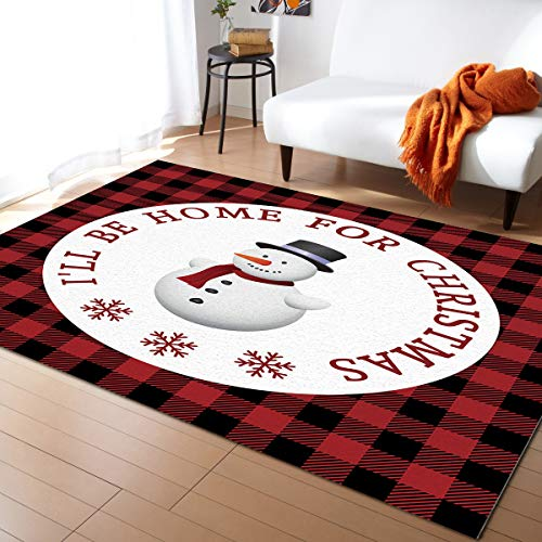 Area Rug Runner 3x5ft, Christmas Snowman Plaid Snowflake Outdoor Runner Rugs Carpet for Hallway/Bedroom/Kitchen/Living Room/Indoor, Low Profile Pile, Non Slip, Buffalo Check Red Black