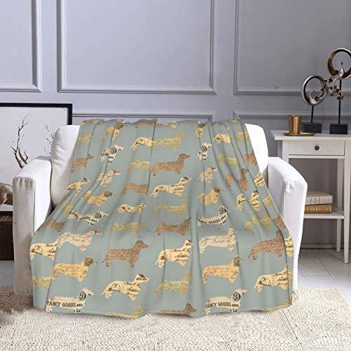 Manta de forro polar para perros Dachshund con tapa de papel de color gris, ultra suave, cálida manta de felpa para sofá, cama, oficina y sala de estar, 127 x 152 cm