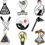 WILLBOND 9 Piezas Broches Químicos Alfileres de Ciencia Dibujos Animados Juego de Broches de Esmalte Broches Redondos de Sol Luna para Aficionados a Ciencia Fiesta Física de Ciencia