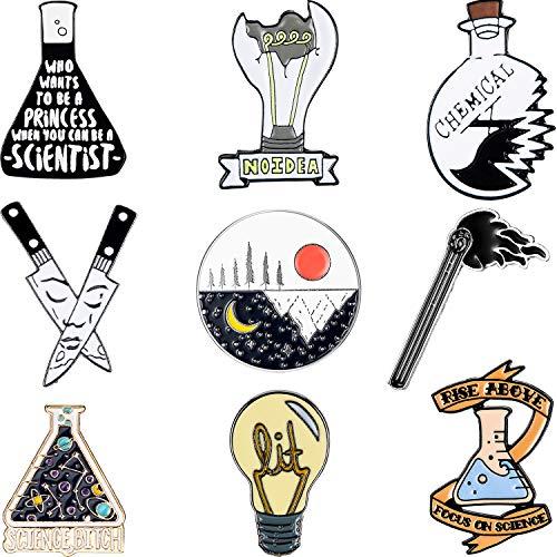 WILLBOND 9 Broches Químicos Alfileres de Ciencia Dibujos Animados Juego de Broches Alfileres de Esmalte Broches Redondos de Sol Luna para Aficionados de Ciencia Fiesta Física de Ciencia