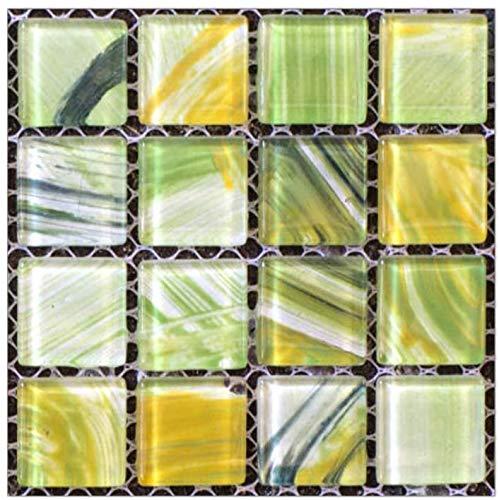 JQDZX Baldosas Pegatinas Adhesivos, Mosaico 3D de cocina autoadhesivo Azulejos de gel, 20pcs PVC Stickers papel pintado resistentes al agua y aceite, para Baño y Cocina Collage (Crystal film,H)