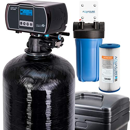 Aquasure Harmony Series 48,000 Grain Water Softener with Fine Mesh Resin For Iron Removal and Pleated Sediment Pre-filter (48,000 Grain)