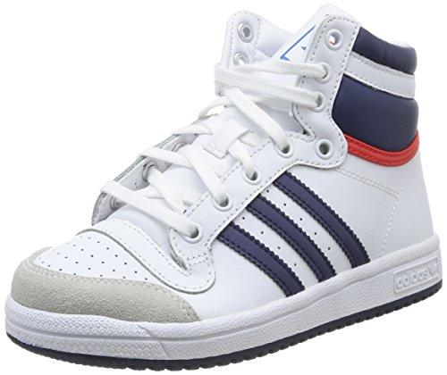 Adidas M25299, Jungen Basketballschuhe, Mehrfarbig (Ftwwht/Dkblue/Powred), Gr. 35 EU