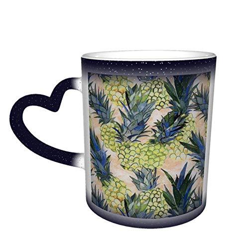 XCNGG Taza de café de la taza de la taza del cielo estrellado de la pendiente de la taza de cerámica Pineapple Decor Magic Heat Sensitive Color Changing Mug In The Sky Funny Art Coffee Mugs Perso