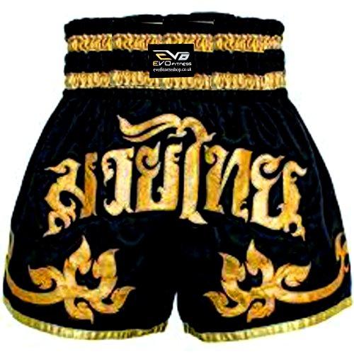 EVO Fitness Muay-Thai Shorts MMA Kickboxen Kampfsport Kampf-ausrüstung - Schwarz und Gold, Medium