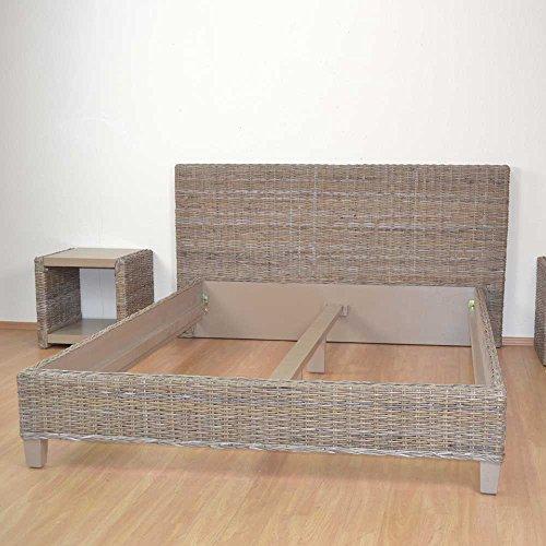 Pharao24 Bett aus Rattan Akazie Massivholz Breite 190 cm Liegefläche 180x200