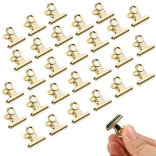 Mitening Binder Clips, 30 Stück 22mm Bulldogge Büroklammern, Gold Scharnier Clips, Multi-function Papier Clips Klammern für Bilder Fotos, Küche zu Hause, Büro Zubehör (Gold)