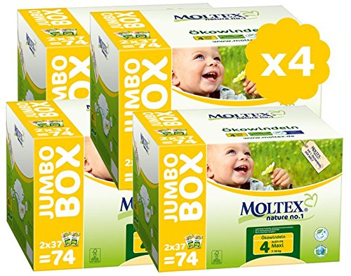 MOLTEX Couches Taille 4 Pack Ultra Eco - 7/18kg - lot de 4 - 296 couches jetables