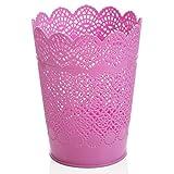 Lumanuby - 1 cubo de basura pequeño para bolígrafos, redondo, organizador de brochas de maquillaje, hueco, para oficina, cocina, escuela, reunión, sala de estudio, color rosa