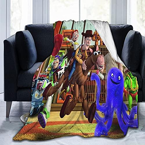 Disney Toy Story Spielende dicke Überwurf-Decken für Erwachsene & Kinder, Fleece-Decke, superweiche Tagesdecke Sherpa-Decke für Bett & Sofa