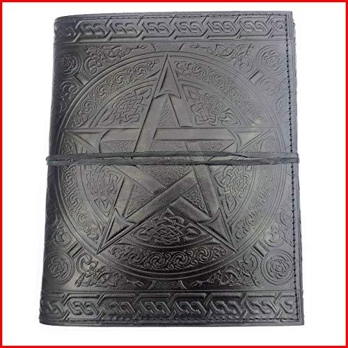 10 x 7 Inch Handmade Black Pentagram Embossed Leather Journal Medium Sized Celtic Leather Sketch Book Office Diary