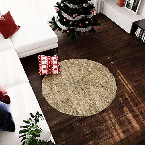 Made Terra - Alfombra redonda para sala de estar, dormitorio, alfombra de mimbre de fibra natural antideslizante plegable (120 cm)