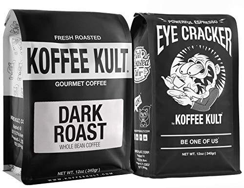 Koffee Kult Espresso Coffee Beans Sample Pack 12oz Dark Roast, 12oz Eye Cracker