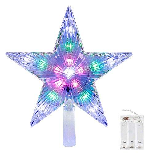 CrazyFire Christmas LED Star Topper per Stelle, Flash Star Light, Alimentato a Batteria