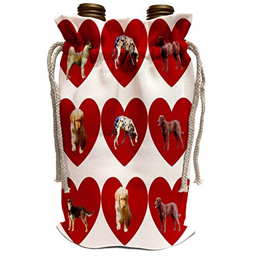 3dRose PS Creations - Dog Breeds in Hearts - Pet Love - Animals - Wine Bag (wbg_60917_1)