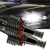 H8 LED Angel Eyes Halo LED Ring Bulb 80W White Fit for BMW E60 E61 E90 E92 E70 E71 E82 E89 1 3 5 Series X5 X6 Z4(Pack of 2)