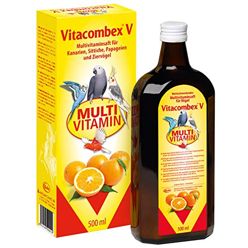 Vitacombex V 500ml - Multivitaminsaft für Kanarien, Sittiche, Papageien & Ziervögel - Optimale Vitaminversorgung