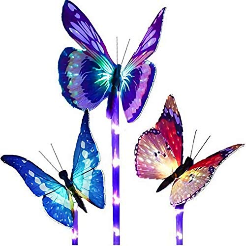 Focos Exterior, Lámpara De Césped Colorida Con Mariposas, Focos Led Exterior Panel Solar De Polisilicio Led Solar Exterior Jardin Es Adecuado Para La Decoración De Jardines Al Aire Libre (tres Paquete