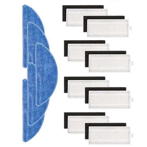 TeKeHom Kit de accesorios de repuesto para aspiradora robot IKOHS netbot S15 Pack de 8 filtros + 5 trapeadores