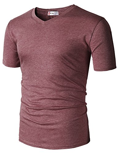 H2H Men's Basic Grey V-Neck T-Shirt with Premium Washing Soft Cotton Blend Charcoal US L/Asia XL (SET3CMTTS0197)