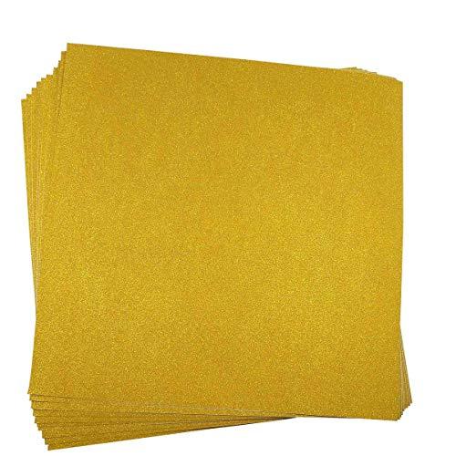 10 Blatt Klebefolie Glitzer Selbstklebende Dekofolie Farbige Bastelfolie Glitter Vinyl Aufkleber für DIY Handwerk Scrapbooking 30x30cm Gold