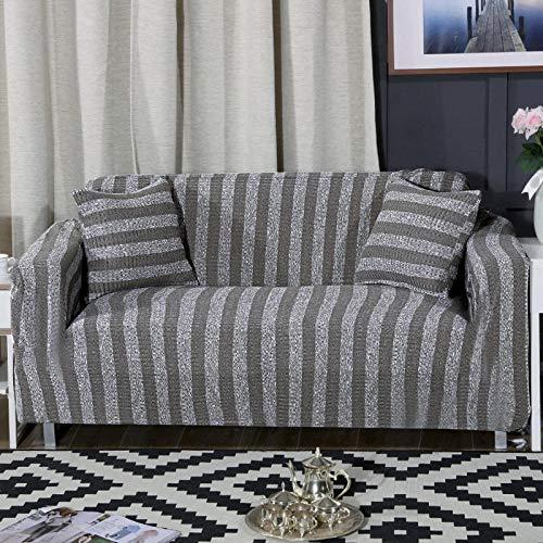 Allenger 1/2 / 3/76 Seater Sofa Cover,Gestrickte gestreifte Stretch-Sofabezug, Möbel-Antifouling-Schutzbezug, Rutschfester Kissenbezug mit Vollbezug, waschbares Sofa-grau_190-230 cm