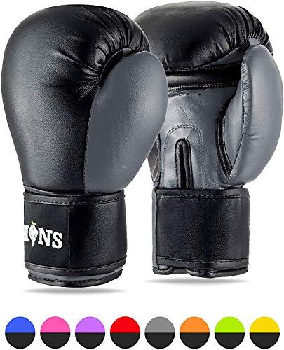 Lions Boxhandschuhe für MMA, für Boxsack-Training, Fausthandschuhe,179 g, 227 g, 283 g, 397 g, 454 g, schwarz, rosa, rot 283,5 g (10 oz) Spritzgießform, Grau