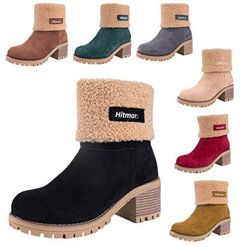 Botas Mujer Invierno Forradas Cálidas Botines Serraje Tacón Ancho Medio 6CM Plataforma Zapatos Nieve Cómodos Casual Negro EU 39