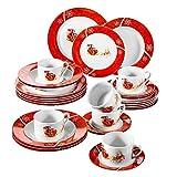 VEWEET, Serie CHRISTMASDEER, 30 teilig Set Porzellan Geschirrservice, Kaffeeservice, Kombiservice für Weihnachten