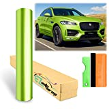 12'x60' (1FTx5FT) Gloss Metallic Lime Green Glossy Car Auto Motorcycle Vehicle Sticker Decal Vinyl Wrap Sheet Film Air Release Self Adhesive Peel and Stick Free Bubble Film Sheet Free Tool Kit