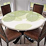 """Elastic Edged Polyester Fitted Table Cover,Stylized Fresh Green Leaves Botany Biology Environment Foliage Garden Decorative,Fits up 40""""-44"""" Diameter Tables,The Ultimate Protection for Your Table,Green"""