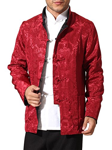 Bitablue Men's Auspicious Reversible Chinese Shirt (Large, Black/Red)
