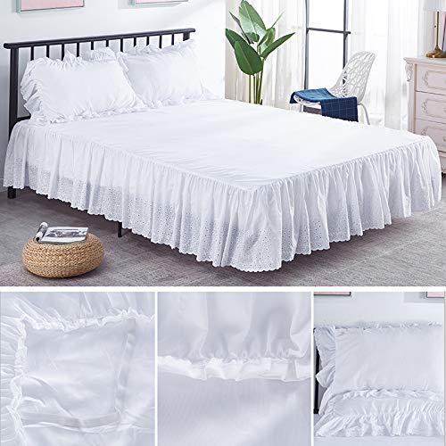 Falda de cama Algodón del ojal moderno con material de material de poliéster, plataforma base hojas de cenefa con volantes de polvo, altura de 15 pulgadas, beige / blanco Para casa, hotel