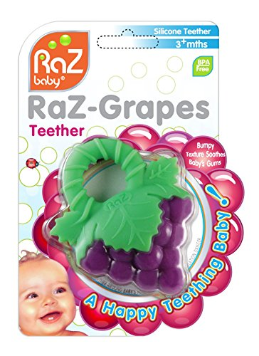 RaZbaby RaZberry Silicone Baby Teether Toy - Berrybumps Soothe Babies Sore Gums - Infant Teething Toy - Hands Free Design - BPA Free - Easy-to-Hold Design - Teething Relief Pacifier - Fruit Shape/Red