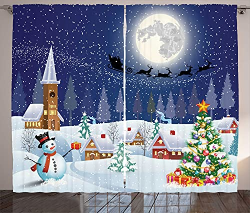 "Ambesonne Christmas Curtains, Winter Season Snowman Xmas Tree Santa Sleigh Moon Present Boxes Snow and Stars, Living Room Bedroom Window Drapes 2 Panel Set, 108"" X 84"", White Blue"
