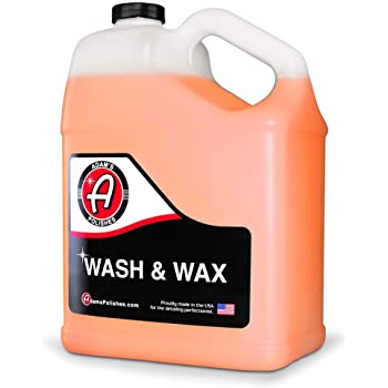 Adam's Wash & Wax Gallon - Car Wash Soap Infused with Pure Carnauba Car Wax Polymers | Car Cleaning Formula W/Paint Protection | Use in 5 Gallon Bucket Foam Cannon Foam Gun & Car Detailing Brush Kit