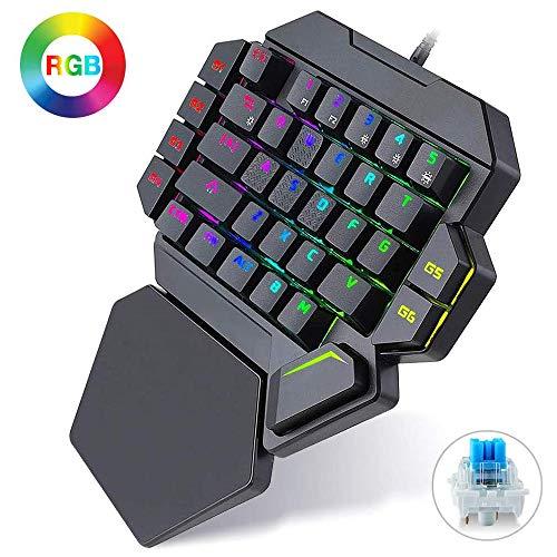 Teclado para juegos con cable K50 RGB, interruptor azul de 35 teclas con una sola mano con retroiluminación LED definición de teclado macro mecánico, impermeable sin conflictos artificial, regalo