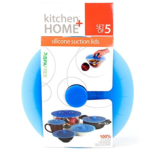 Kitchen + Home Silicone Suction Lids and Food Covers - Set of 5 - Fits various sizes of cups, bowls,...
