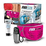 ABFLEX Ab Toning Belt for Slender Toned Stomach Muscles, Remote for Quick and Easy Adjustments, 99 Intensity Levels and 10 Workouts for Fast Results (Pink)
