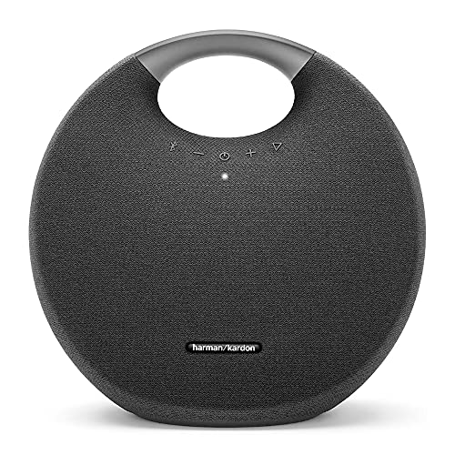 Harman Kardon Onyx Studio 6 Wireless Bluetooth Speaker - IPX7 Waterproof Extra Bass Sound System with Rechargeable Battery and Built-in Microphone - Black