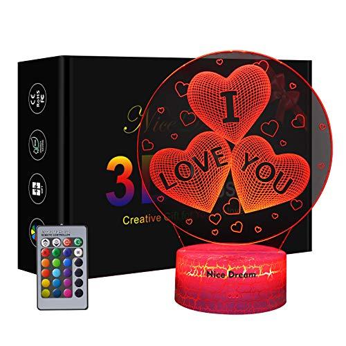 Regalo De Luz Nocturna Para Mujeres, Luz De Noche 3d En Forma De Corazón Para Amantes, Regalos Para El Día De San Valentín o Cumpleaños