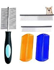 Peines de aseo para mascotas, 5 piezas de peine para perros para eliminar manchas de metal de doble cara para eliminar pelos
