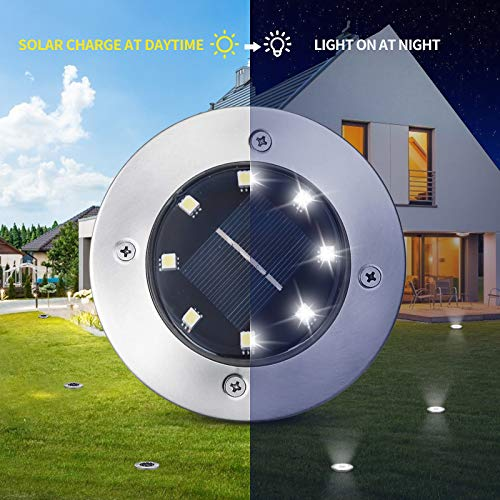 Solar Ground Lights 16 Packs - 8 LED Solar Garden Lights Outdoor Waterproof in-Upgraded Outdoor Garden Waterproof Bright in-Ground Lights for Lawn Pathway Yard Driveway(Cold White)