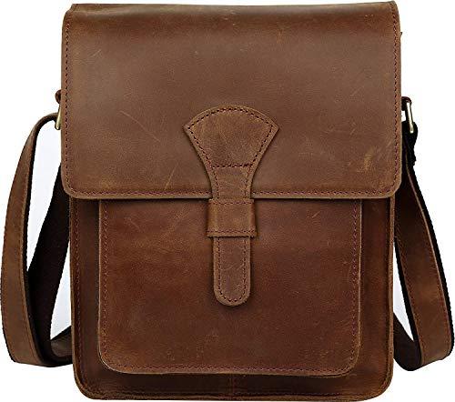 [(チョウギュウ) 潮牛] ショルダーバッグ 本革 メンズ 斜め掛け iPad対応 厚手牛革 ビンテージ風 ブラウン