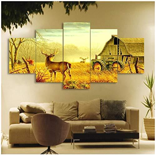 Canvas dieren herten op boerderij houten huis trekker herfst canvas foto schilderij decor print poster kunst aan de muur -40x60 40x80 40x100cm geen frame