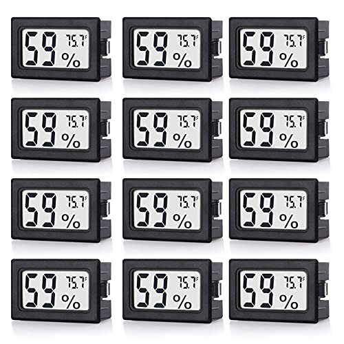 Goabroa 12 Pack Mini Small Hygrometer Thermometer, Digital Indoor Humidity Gauge Monitor with Temperature Meter Sensor Fahrenheit (℉) 12 Pack